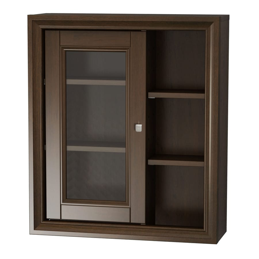 allen + roth Caterton 21.625-in W x 25-in H x 7-in D Java Poplar Bathroom Wall Cabinet