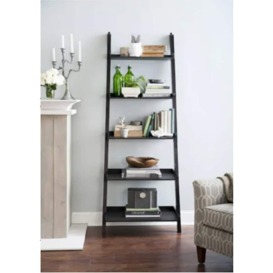 Allen Roth Java Wood 5 Shelf Ladder Bookcase