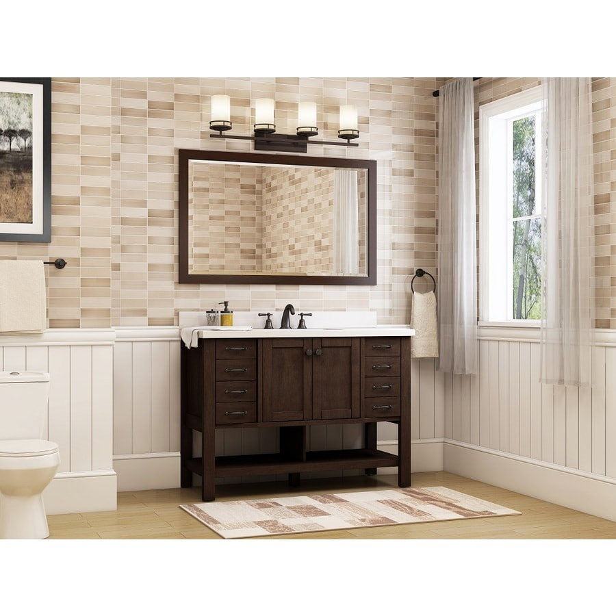 Allen Roth Kingscote Espresso Single Sink Vanity With White Engineered Stone Top Common