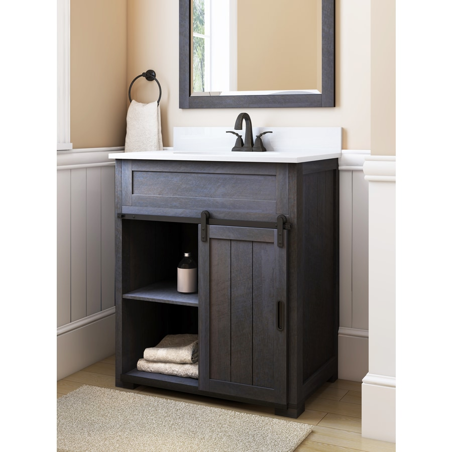 style selections morriston distressed java single sink vanity with white engineered stone top common - Bathroom Vanities Lowes
