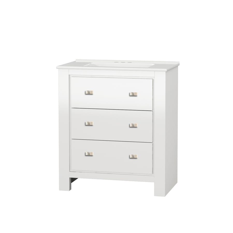 Gentil Style Selections Leahan White Undermount Single Sink Bathroom Vanity With  Vitreous China Top (Common: