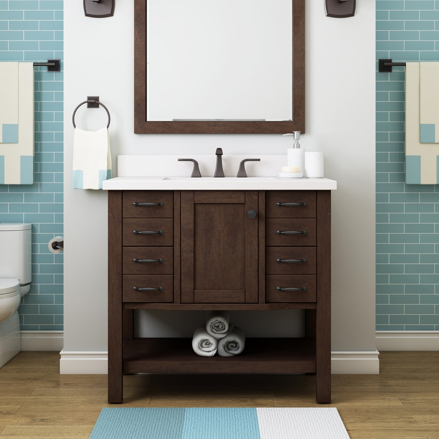 Allen Roth Kingscote 36 In Espresso Single Sink Bathroom Vanity With White Engineered Stone