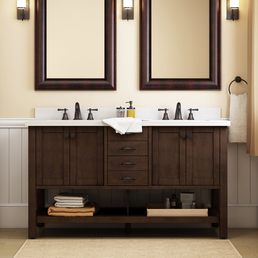 Allen Roth Kingscote Espresso Double Sink Vanity With White Engineered Stone Top Common