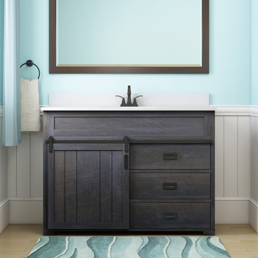 Bathroom single vanity - Style Selections Morriston Distressed Java 48 In Undermount Single Sink Bathroom Vanity With Engineered Stone