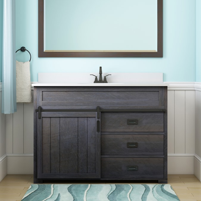 Style Selections Morriston 48 In Distressed Java Undermount Single Sink Bathroom Vanity With White Engineered Stone Top In The Bathroom Vanities With Tops Department At Lowes Com