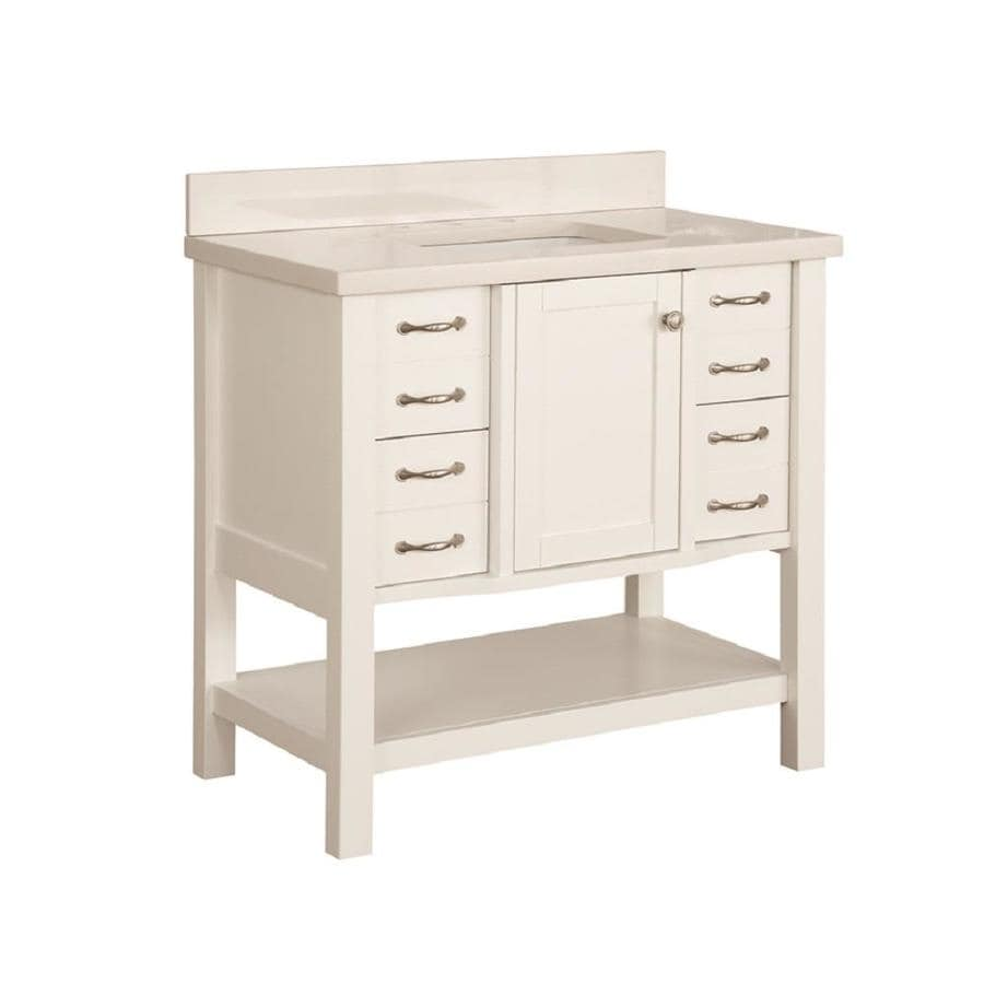 allen + roth Kingscote White Undermount Single Sink Bathroom Vanity with  Engineered Stone Top (Common - Shop Bathroom Vanities With Tops At Lowes.com