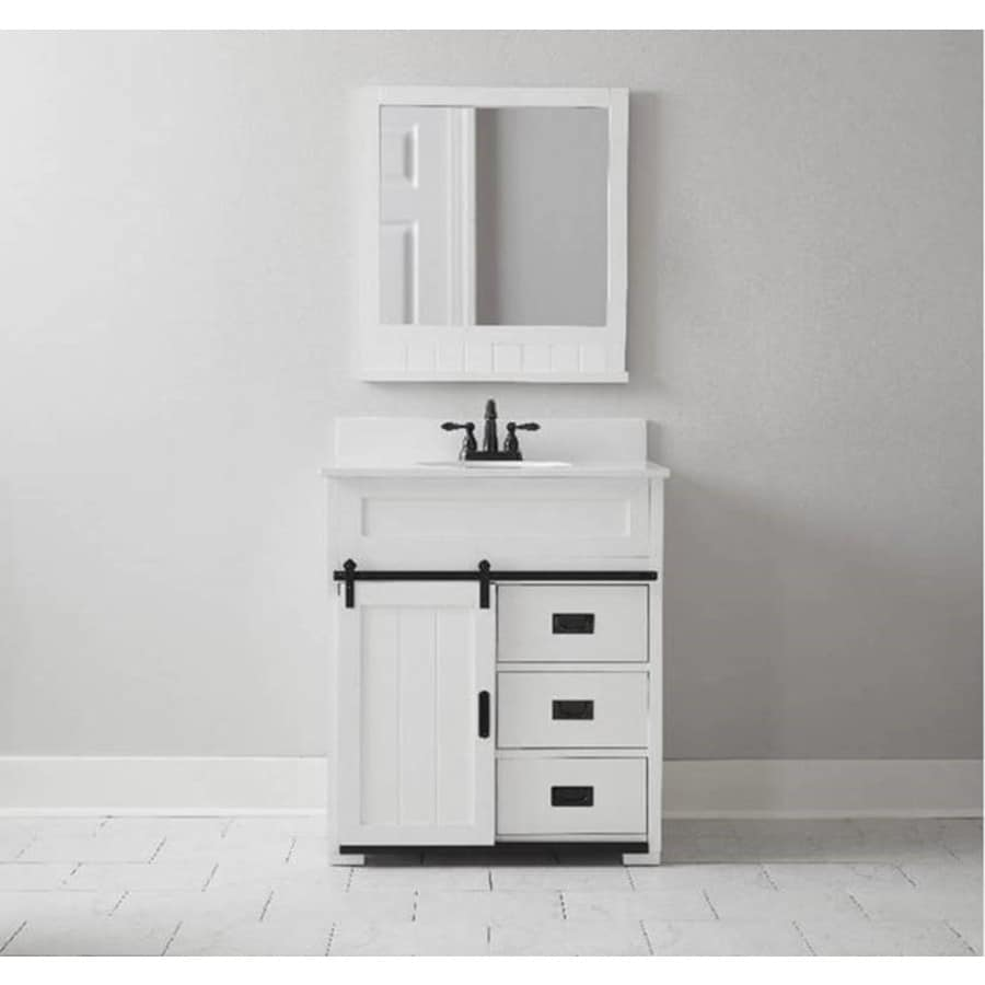 Shop style selections morriston white undermount single sink bathroom vanity with engineered White bathroom vanity cabinets