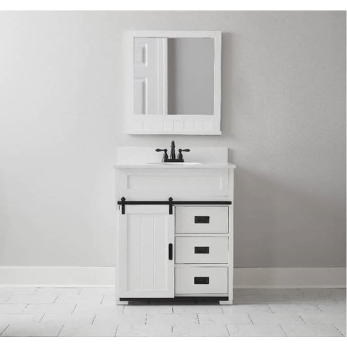 Style Selections Morriston 30 In White Single Sink Bathroom Vanity With White Engineered Stone Top In The Bathroom Vanities With Tops Department At Lowes Com