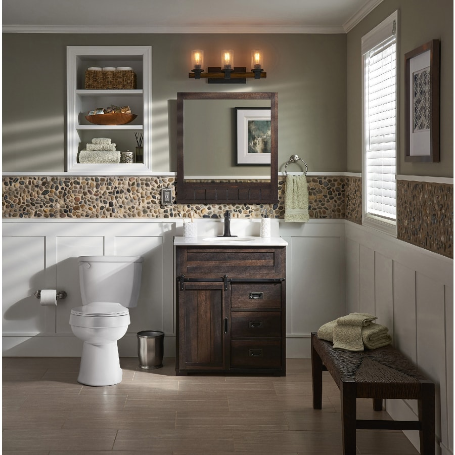 Style Selections Morriston 26 In Brown Rectangular Bathroom Mirror In The Bathroom Mirrors Department At Lowes Com