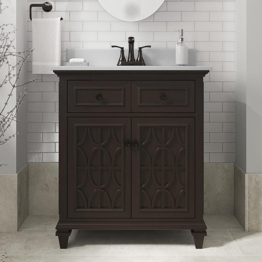 Allen Roth Chelney 30 In Espresso Single Sink Bathroom Vanity With White Engineered Stone Top