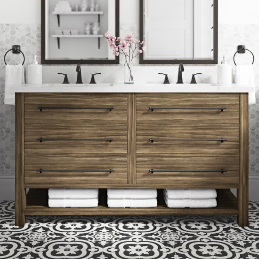 Shop allen + roth Kennilton Gray Oak Double Sink Vanity with Carrera ...