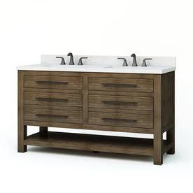 Allen Roth Kennilton 60 In Gray Oak Double Sink Bathroom Vanity With Carrera White