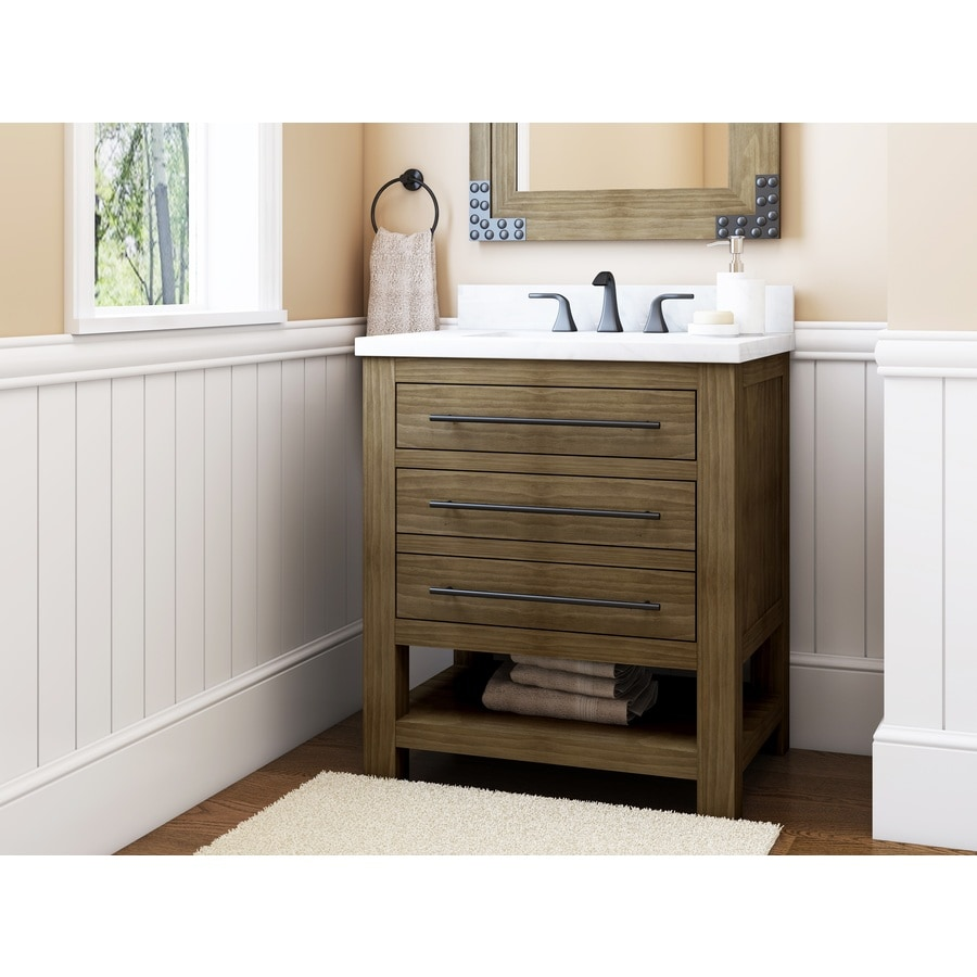 Allen Roth Kennilton 30 In Gray Oak Single Sink Bathroom Vanity With Carrera White Engineered Stone Top In The Bathroom Vanities With Tops Department At Lowes Com