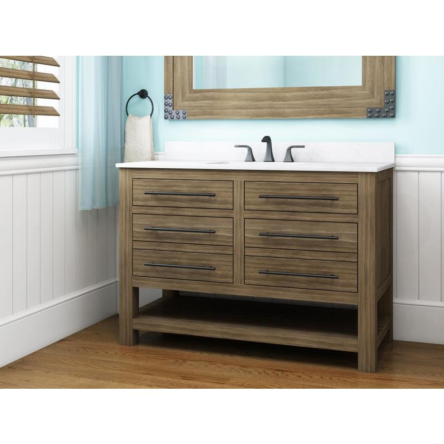 Allen + Roth Kennilton Gray Oak Single Sink Vanity With Carrera White Engineered Stone Top (Common: 48 In X 22 In) by Lowe's