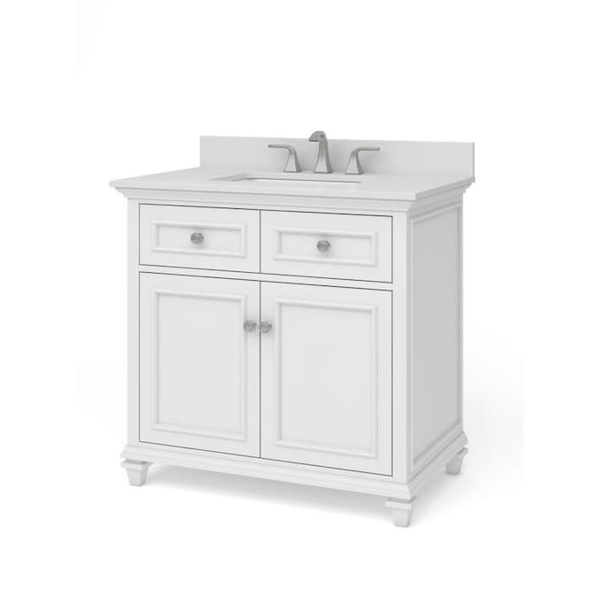 allen + roth Chelney 36-in White Single Sink Bathroom ...