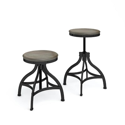 Awesome Set Of 2 Brown Adjustable Stool Beatyapartments Chair Design Images Beatyapartmentscom
