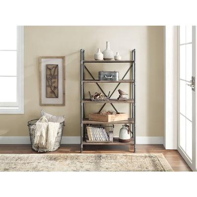 Distressed Brown Metal 5 Shelf Standard Bookcase