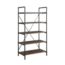Whalen Distressed Brown Metal 5 Shelf Standard Bookcase