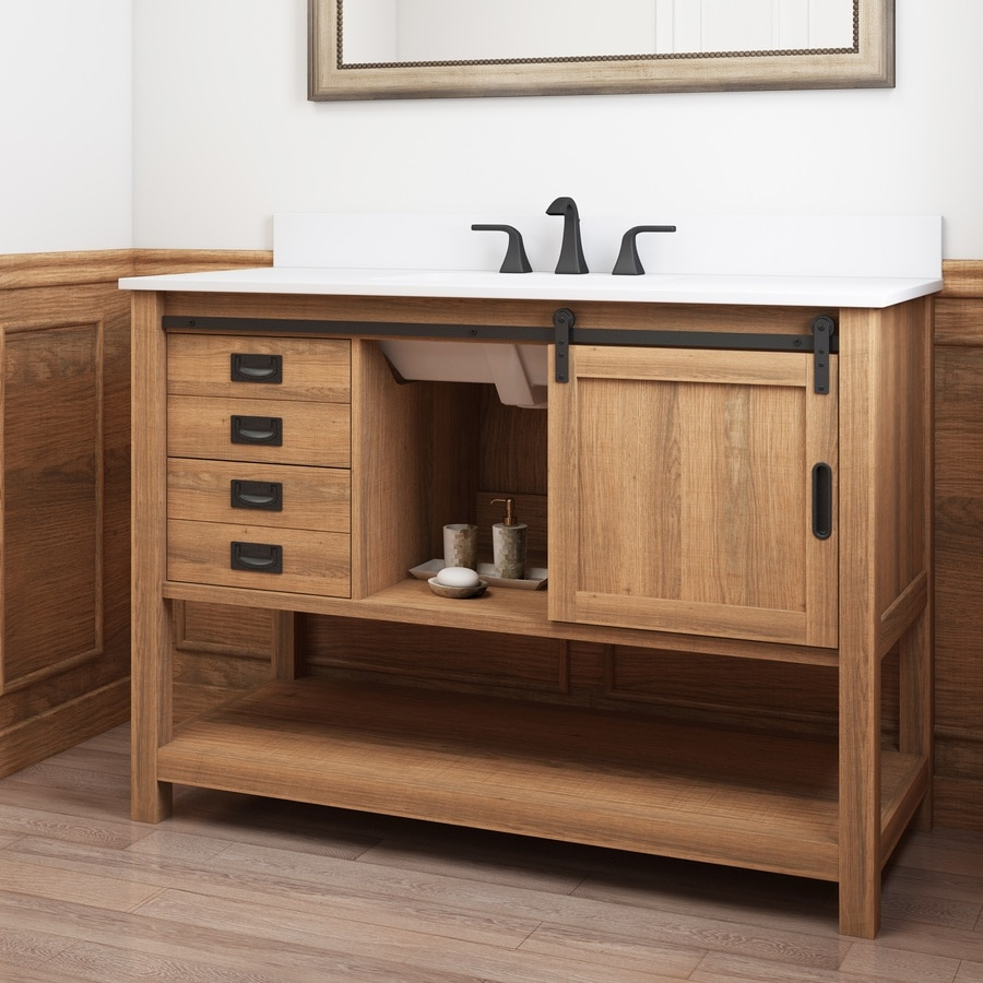 Style Selections 48 In Brown Undermount Single Sink Bathroom Vanity With White Engineered Stone Top In The Bathroom Vanities With Tops Department At Lowes Com