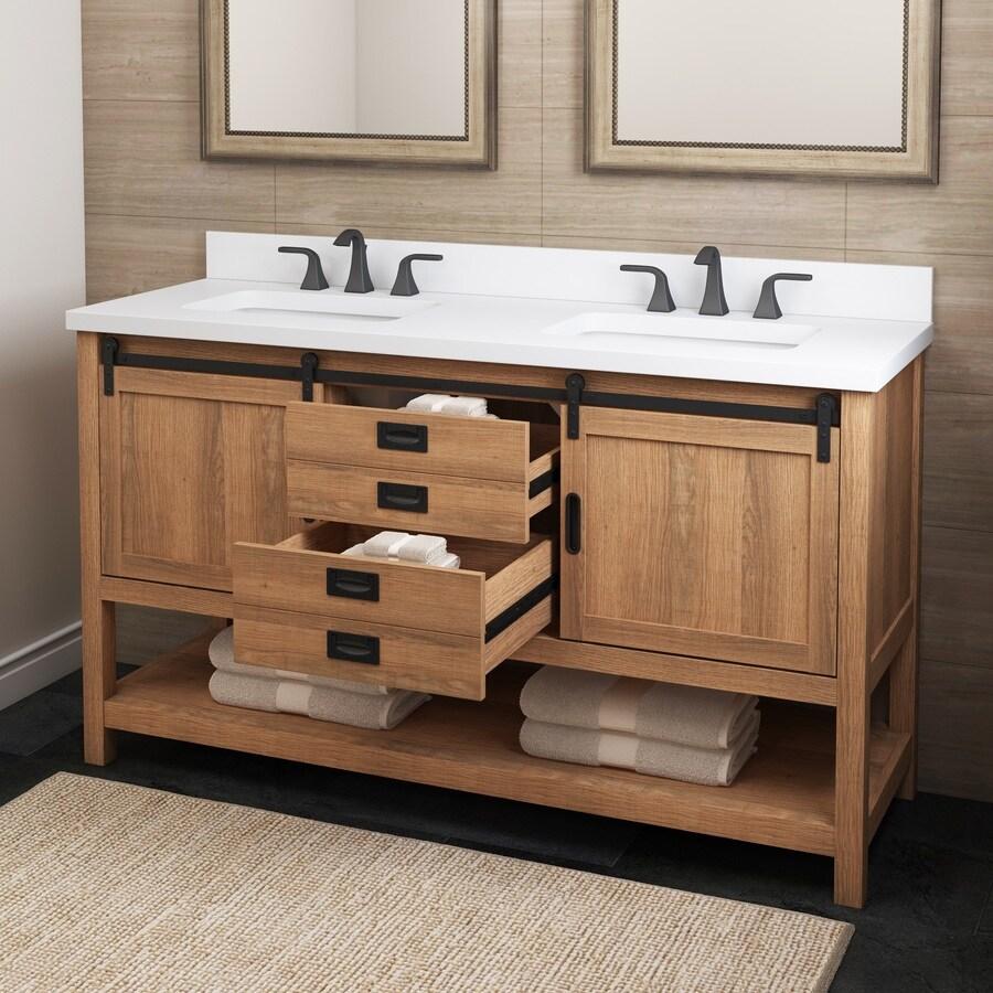 Brown Double Sink Bathroom Vanity