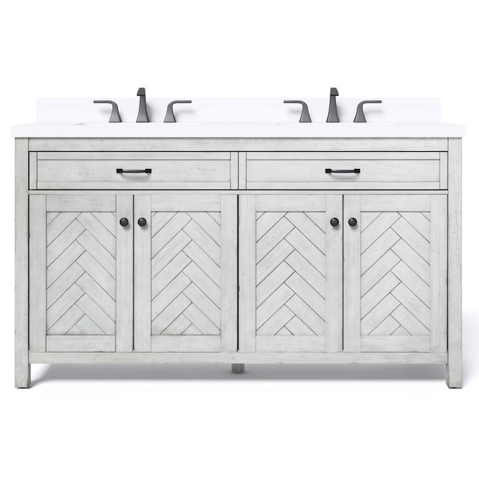 allen + roth 60-in White Double Sink Bathroom Vanity with ...