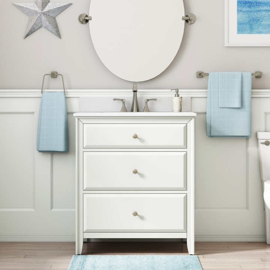 Style Selections 30 In Matte White Single Sink Bathroom Vanity With White Engineered Stone Top In The Bathroom Vanities With Tops Department At Lowes Com