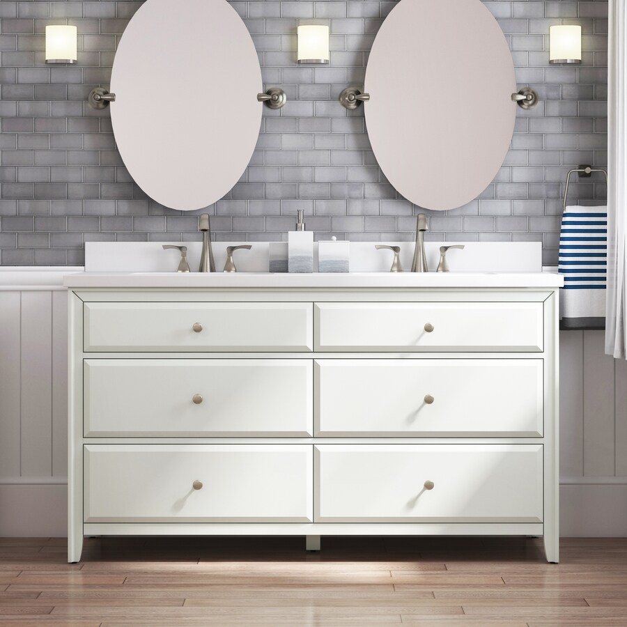 Style Selections 60 In Matte White Double Sink Bathroom Vanity With White Engineered Stone Top In The Bathroom Vanities With Tops Department At Lowes Com
