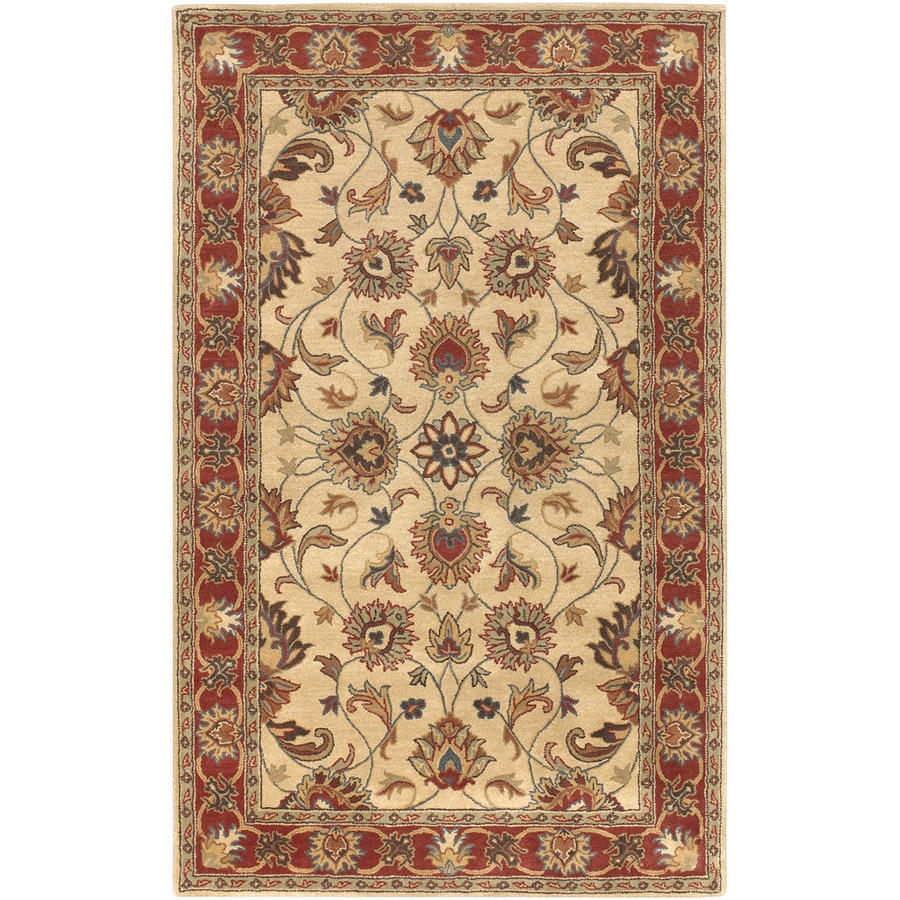 Artistic Weavers Charleston Rectangular Cream Floral Tufted Wool Area Rug (Common: 5-ft x 8-ft; Actual: 5-ft x 8-ft)