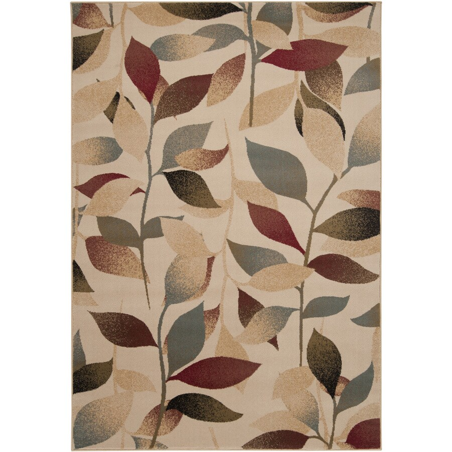 Artistic Weavers Pahala Rectangular Cream Floral Woven Area Rug (Common: 8-ft x 11-ft; Actual: 7.83-ft x 10.83-ft)
