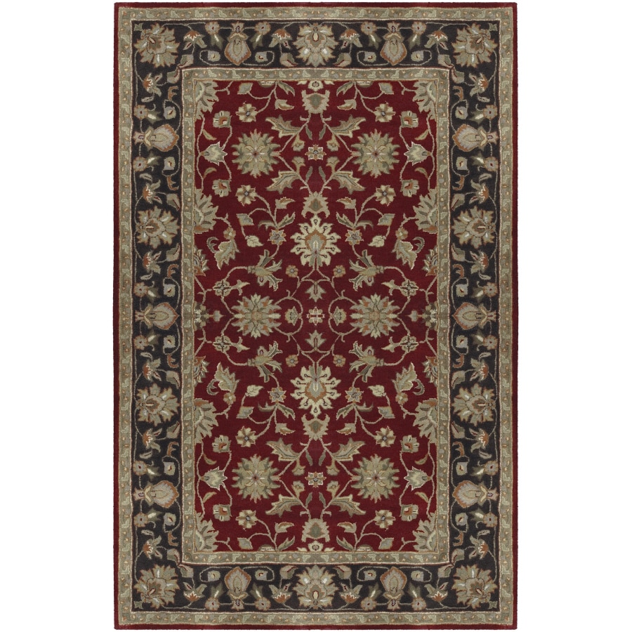 Artistic Weavers Crowne Rectangular Red with Black Border Area Rug (Common: 8-ft x 11-ft; Actual: 8-ft x 11-ft)