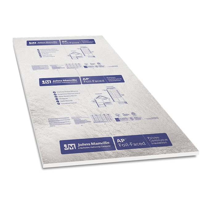 Johns Manville R 6 Common 1 In X 4 Ft X 8 Ft Actual 1 In X 4 Ft X 8 Ft Ap Foil 1 Faced Polyisocyanurate Foam Board Insulation In The Foam Board Insulation Department At Lowes Com