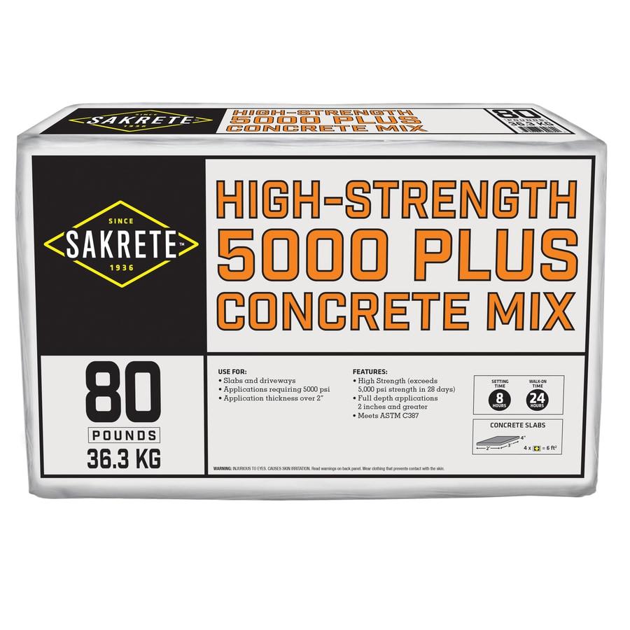Sakrete 5000 Plus 80-lb Gray High Strength Concrete Mix