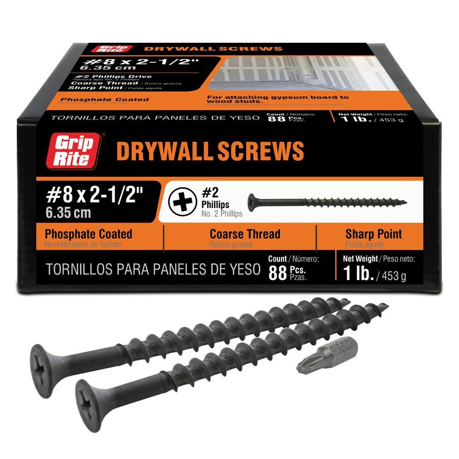 1-lb Box #8 x 2.5-in Bugle-Head Black Phosphate Drywall Screws