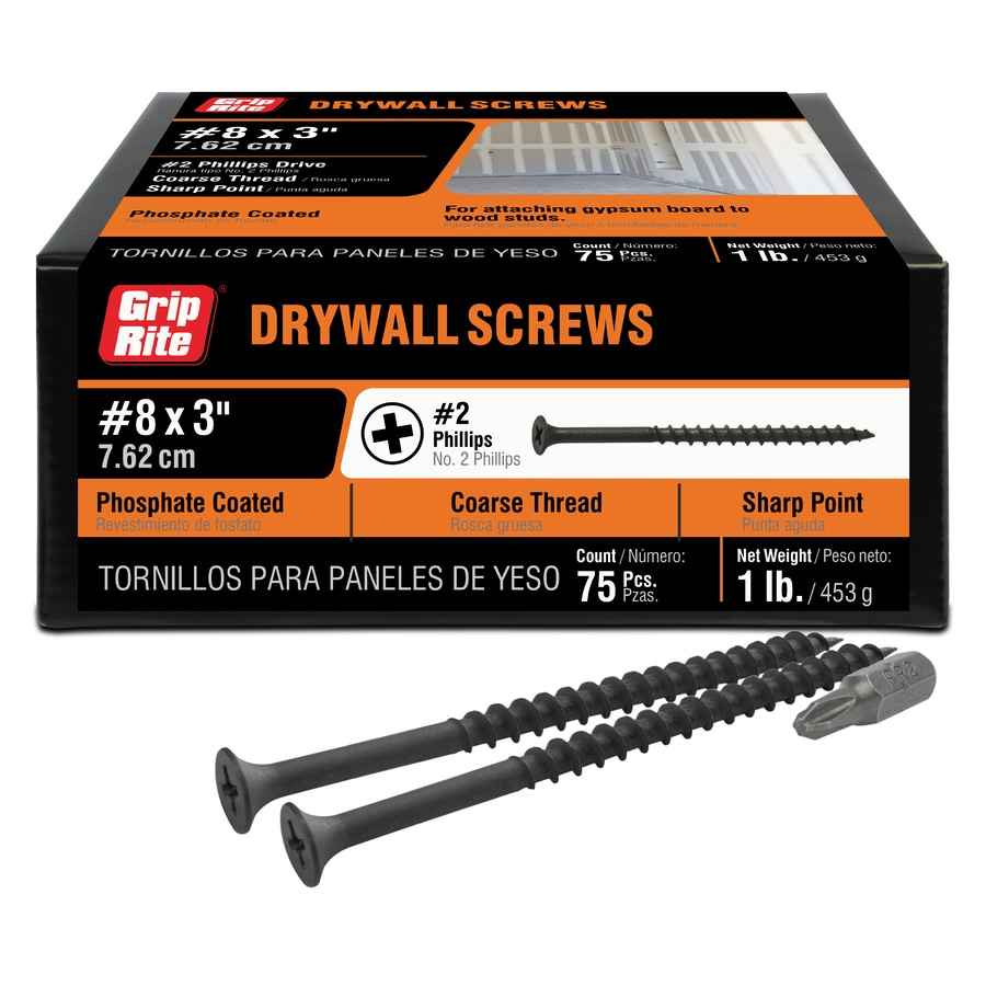1-lb #8 x 3-in Bugle-Head Black Phosphate Phillips-Drive Drywall Screws