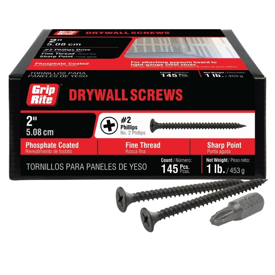Grip-Rite 1-lb Box #6 x 2-in Bugle-Head Black Phosphate Drywall Screws
