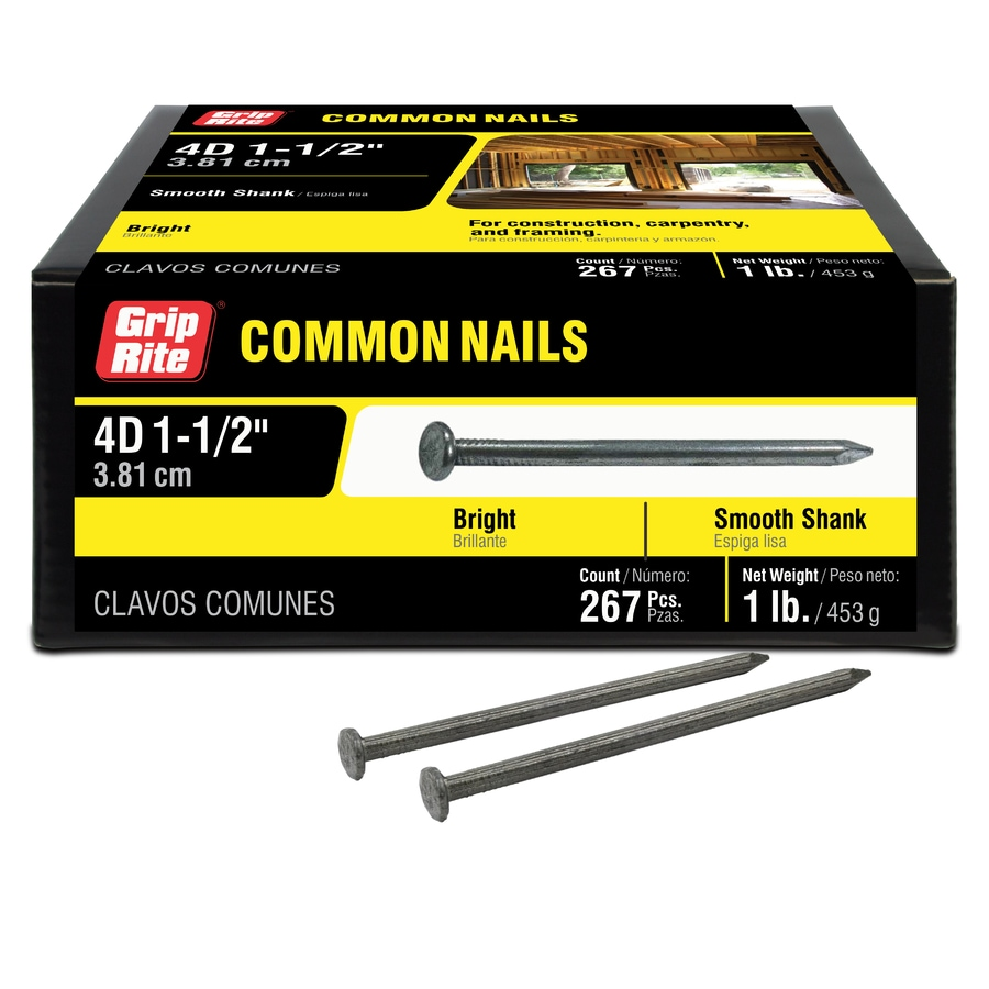 Grip-Rite 1-lb 13-Gauge 1.5-in Bright Steel Smooth Nails