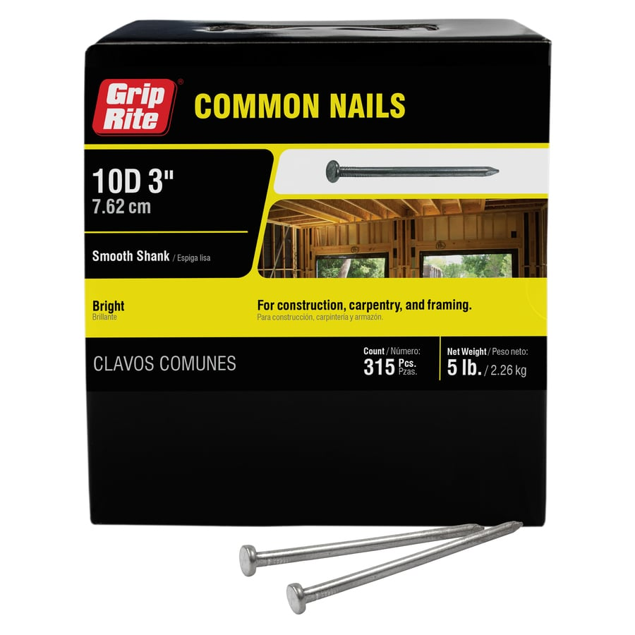 Grip-Rite 5-lb 9-Gauge 3-in Bright Steel Smooth Nails