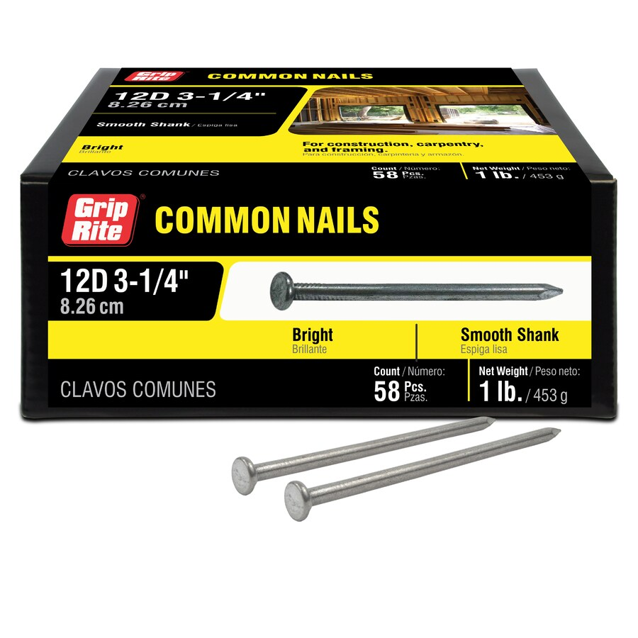 Grip-Rite 1-lb 9-Gauge 3.25-in Bright Steel Smooth Nails