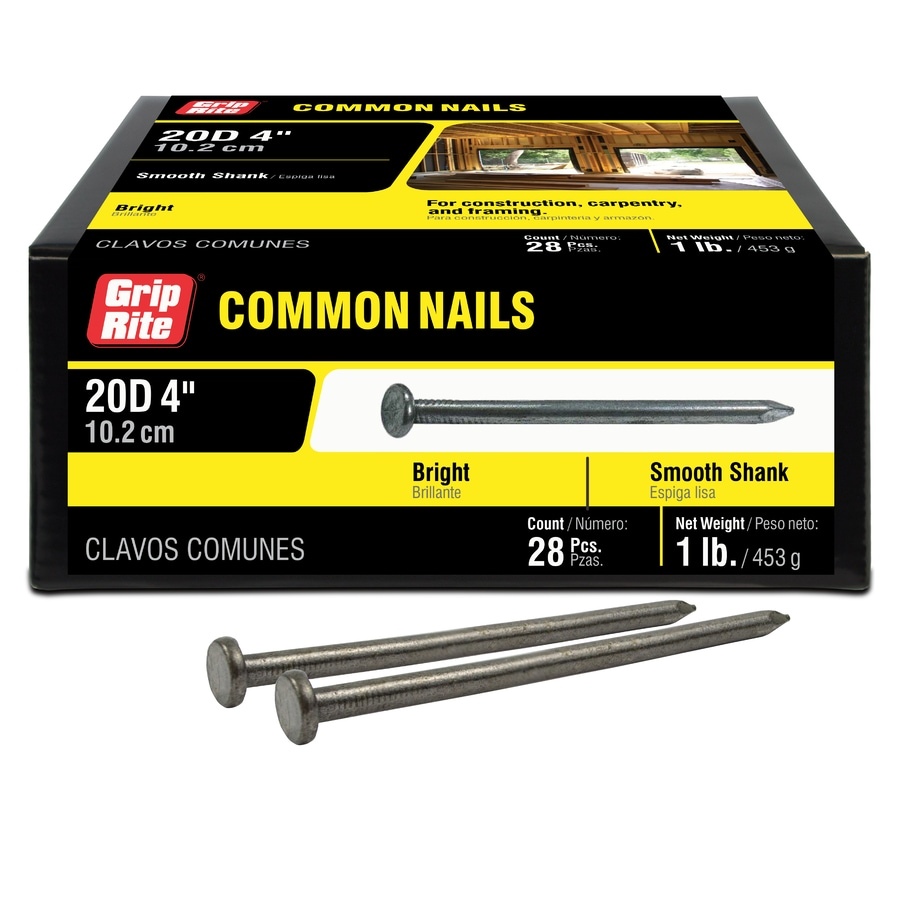 Grip-Rite 1-lb 6-Gauge 4-in Bright Steel Smooth Nails