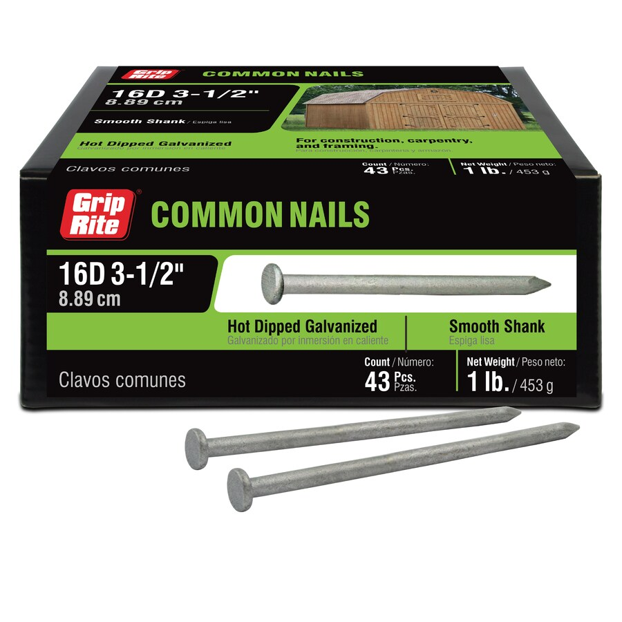 Grip-Rite 1-lb 8-Gauge 3.5-in Hot-Dipped Galvanized Smooth Nails