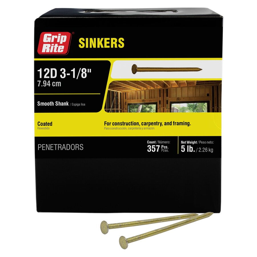 Grip-Rite 5-lb 10-Gauge 3.125-in Vinyl-Coated Smooth Sinker Nails
