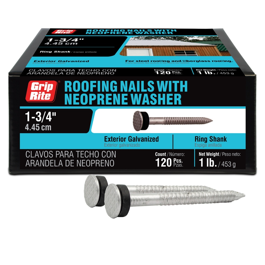Grip-Rite 1-lb 11-Gauge 1.75-in Steel Roofing Nails with Neoprene Washer