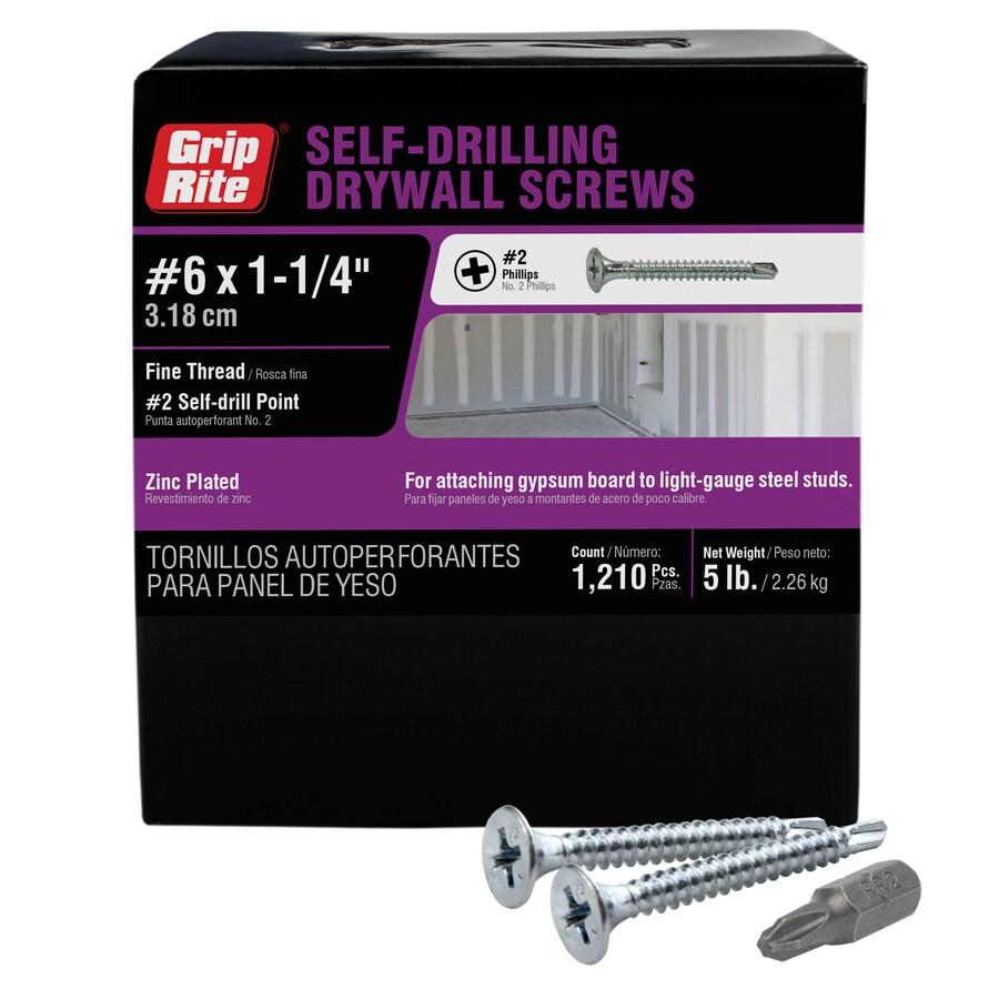 Grip-Rite 5-lb #6 x 1.25-in Button-Head Zinc-plated Phillips-Drive Drywall Screws