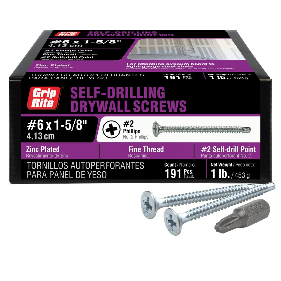 Grip-Rite 1-lb #6 x 1.626-in Bugle-Head Zinc-plated Phillips-Drive Drywall Screws