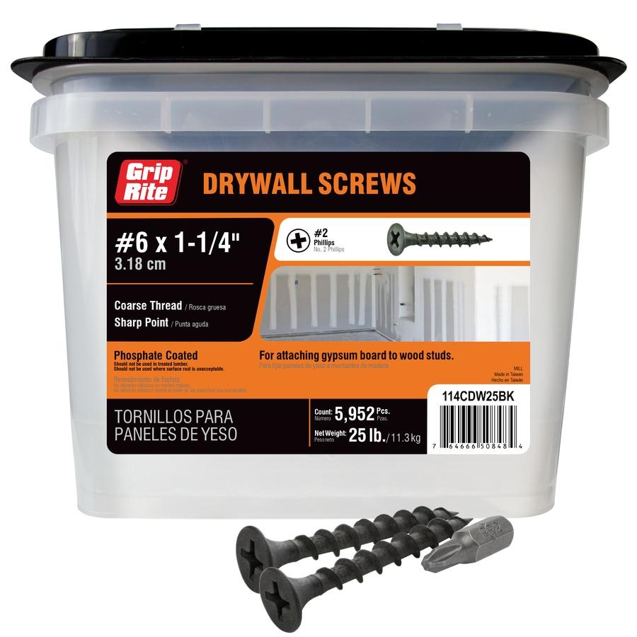 Grip-Rite 25-lb #6 x 1.25-in Bugle-Head Black Phosphate Drywall Screws