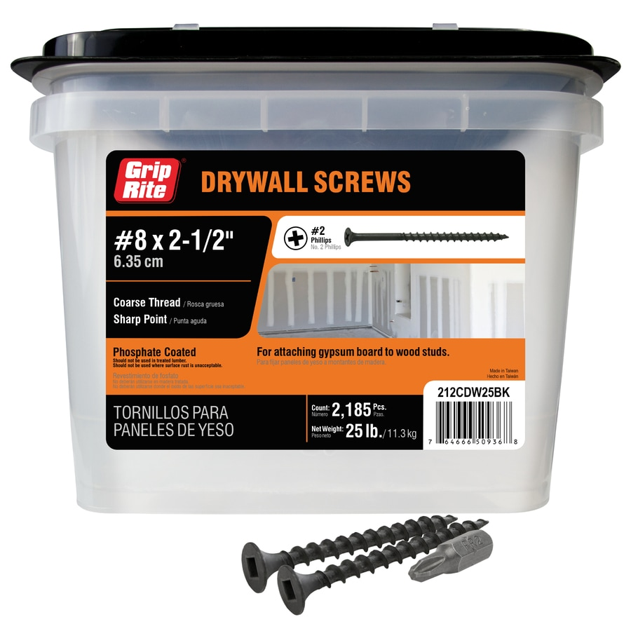 Grip-Rite 25-lb Box #8 x 2.5-in Bugle-Head Black Phosphate Drywall Screws