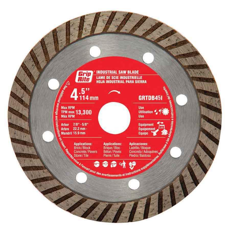 Grip-Rite 4-1/2-in Wet or Dry Turbo Diamond Circular Saw Blade