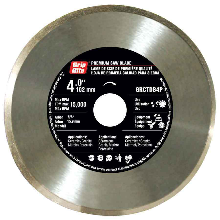 Grip-Rite 4-in Wet or Dry Continuous Diamond Circular Saw Blade