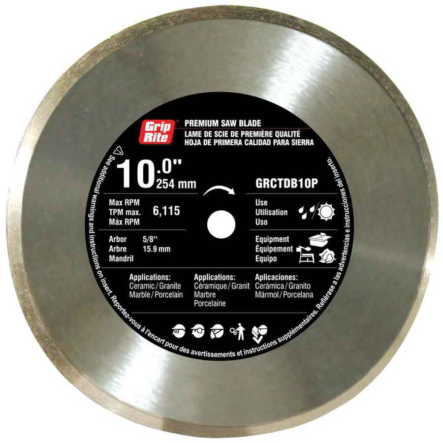 Grip-Rite 10-in Wet or Dry Continuous Diamond Circular Saw Blade