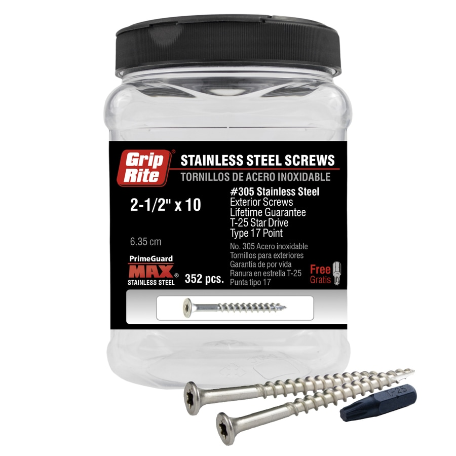 352-Count #10 x 2.5-in Flat-Head Stainless Steel Star-Drive Deck Screws